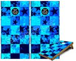 Cornhole Game Board Vinyl Skin Wrap Kit - Premium Laminated - Blue Star Checkers fits 24x48 game boards (GAMEBOARDS NOT INCLUDED)
