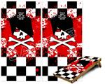 Cornhole Game Board Vinyl Skin Wrap Kit - Premium Laminated - Emo Skull 5 fits 24x48 game boards (GAMEBOARDS NOT INCLUDED)