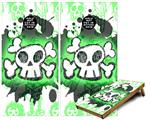 Cornhole Game Board Vinyl Skin Wrap Kit - Premium Laminated - Cartoon Skull Green fits 24x48 game boards (GAMEBOARDS NOT INCLUDED)
