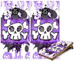 Cornhole Game Board Vinyl Skin Wrap Kit - Premium Laminated - Cartoon Skull Purple fits 24x48 game boards (GAMEBOARDS NOT INCLUDED)