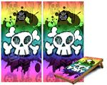 Cornhole Game Board Vinyl Skin Wrap Kit - Premium Laminated - Cartoon Skull Rainbow fits 24x48 game boards (GAMEBOARDS NOT INCLUDED)
