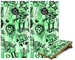 Cornhole Game Board Vinyl Skin Wrap Kit - Premium Laminated - Scene Kid Sketches Green fits 24x48 game boards (GAMEBOARDS NOT INCLUDED)