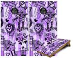 Cornhole Game Board Vinyl Skin Wrap Kit - Premium Laminated - Scene Kid Sketches Purple fits 24x48 game boards (GAMEBOARDS NOT INCLUDED)