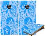 Cornhole Game Board Vinyl Skin Wrap Kit - Premium Laminated - Skull Sketches Blue fits 24x48 game boards (GAMEBOARDS NOT INCLUDED)