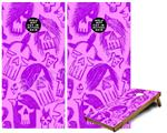 Cornhole Game Board Vinyl Skin Wrap Kit - Premium Laminated - Skull Sketches Purple fits 24x48 game boards (GAMEBOARDS NOT INCLUDED)