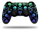 Vinyl Skin Wrap for Sony PS4 Dualshock Controller Skull and Crossbones Rainbow (CONTROLLER NOT INCLUDED)