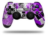 WraptorSkinz Skin compatible with Sony PS4 Dualshock Controller PlayStation 4 Original Slim and Pro Purple Checker Skull Splatter (CONTROLLER NOT INCLUDED)