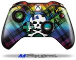 Rainbow Plaid Skull - Decal Style Skin fits Microsoft XBOX One Wireless Controller