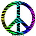 Rainbow Zebra - Peace Sign Car Window Decal 6 x 6 inches