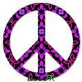 Pink Floral - Peace Sign Car Window Decal 6 x 6 inches