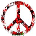 Red Graffiti - Peace Sign Car Window Decal 6 x 6 inches