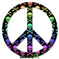 Skull and Crossbones Rainbow - Peace Sign Car Window Decal 6 x 6 inches