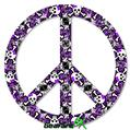 Splatter Girly Skull Purple - Peace Sign Car Window Decal 6 x 6 inches