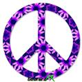 Daisies Purple - Peace Sign Car Window Decal 6 x 6 inches