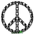 Skull and Crossbones Pattern - Peace Sign Car Window Decal 6 x 6 inches