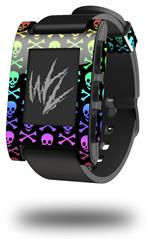 Skull and Crossbones Rainbow - Decal Style Skin fits original Pebble Smart Watch (WATCH SOLD SEPARATELY)