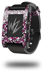 Splatter Girly Skull Pink - Decal Style Skin fits original Pebble Smart Watch (WATCH SOLD SEPARATELY)