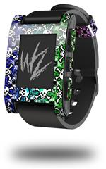 Splatter Girly Skull Rainbow - Decal Style Skin fits original Pebble Smart Watch (WATCH SOLD SEPARATELY)