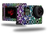 Splatter Girly Skull Rainbow - Decal Style Skin fits GoPro Hero 4 Silver Camera (GOPRO SOLD SEPARATELY)
