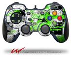 Checker Skull Splatter Green - Decal Style Skin fits Logitech F310 Gamepad Controller (CONTROLLER SOLD SEPARATELY)