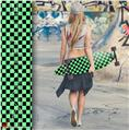 Checkers Green - Decal Style Vinyl Wrap Skin fits Longboard Skateboards up to 10