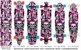 Girly Punk Skull - Decal Style Vinyl Wrap Skin fits Longboard Skateboards up to 10