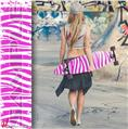 Grunge RJ Zebra Pink - Decal Style Vinyl Wrap Skin fits Longboard Skateboards up to 10