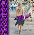 Skull Checkers Purple - Decal Style Vinyl Wrap Skin fits Longboard Skateboards up to 10