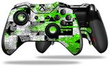 Checker Skull Splatter Green - Decal Style Skin fits Microsoft XBOX One ELITE Wireless Controller