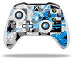 Checker Skull Splatter Blue - Decal Style Skin fits Microsoft XBOX One X and One S Wireless Controller