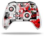 Skin Wrap for Microsoft XBOX One S / X Controller Checker Skull Splatter Red