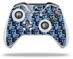 Skin Wrap for Microsoft XBOX One S / X Controller Skull Checker Blue