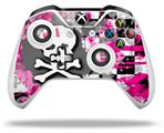 Girly Pink Bow Skull - Decal Style Skin fits Microsoft XBOX One X and One S Wireless Controller