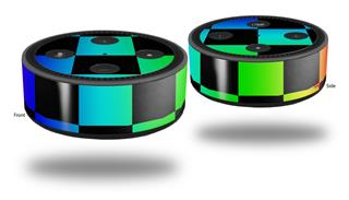 Skin Wrap Decal Set 2 Pack for Amazon Echo Dot 2 - Rainbow Checkerboard (2nd Generation ONLY - Echo NOT INCLUDED)