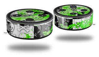 Skin Wrap Decal Set 2 Pack for Amazon Echo Dot 2 - Checker Skull Splatter Green (2nd Generation ONLY - Echo NOT INCLUDED)