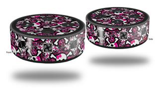 Skin Wrap Decal Set 2 Pack for Amazon Echo Dot 2 - Splatter Girly Skull Pink (2nd Generation ONLY - Echo NOT INCLUDED)