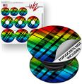 Decal Style Vinyl Skin Wrap 3 Pack for PopSockets Rainbow Plaid (POPSOCKET NOT INCLUDED)