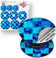 Decal Style Vinyl Skin Wrap 3 Pack for PopSockets Blue Star Checkers (POPSOCKET NOT INCLUDED)