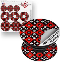 Decal Style Vinyl Skin Wrap 3 Pack for PopSockets Goth Punk Skulls (POPSOCKET NOT INCLUDED)