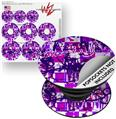 Decal Style Vinyl Skin Wrap 3 Pack for PopSockets Purple Checker Graffiti (POPSOCKET NOT INCLUDED)
