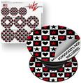 Decal Style Vinyl Skin Wrap 3 Pack for PopSockets Hearts and Stars Red (POPSOCKET NOT INCLUDED)