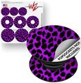Decal Style Vinyl Skin Wrap 3 Pack for PopSockets Purple Leopard (POPSOCKET NOT INCLUDED)
