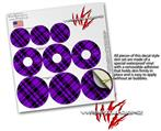 Decal Style Vinyl Skin Wrap 3 Pack for PopSockets Purple Plaid (POPSOCKET NOT INCLUDED)