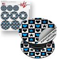 Decal Style Vinyl Skin Wrap 3 Pack for PopSockets Hearts And Stars Blue (POPSOCKET NOT INCLUDED)