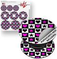 Decal Style Vinyl Skin Wrap 3 Pack for PopSockets Hearts And Stars Pink (POPSOCKET NOT INCLUDED)