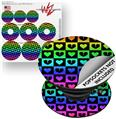 Decal Style Vinyl Skin Wrap 3 Pack for PopSockets Love Heart Checkers Rainbow (POPSOCKET NOT INCLUDED)