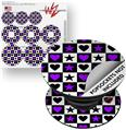 Decal Style Vinyl Skin Wrap 3 Pack for PopSockets Purple Hearts And Stars (POPSOCKET NOT INCLUDED)