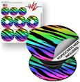 Decal Style Vinyl Skin Wrap 3 Pack for PopSockets Tiger Rainbow (POPSOCKET NOT INCLUDED)