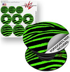 Decal Style Vinyl Skin Wrap 3 Pack for PopSockets Zebra Green (POPSOCKET NOT INCLUDED)