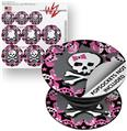 Decal Style Vinyl Skin Wrap 3 Pack for PopSockets Pink Bow Skull (POPSOCKET NOT INCLUDED)
